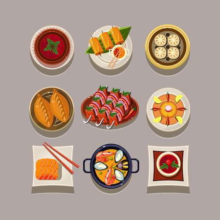 lunch food: Korean food Vector Illustration set