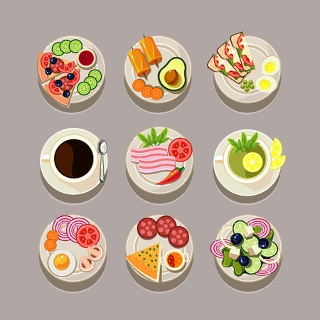 Breakfast concept with fresh food and drinks flat icons set vector illustration Vector