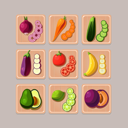 verdant: A set of delicious vegetables on wooden boards Illustration