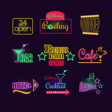 hospitality industry: Colorful Glowing Neon Lights Graphic Designs for Cafe and Motel Signs on Black Background