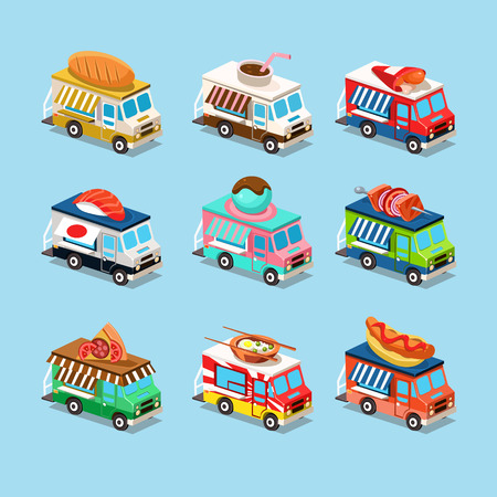 Vans with food in style an Isometric. Vector illustration