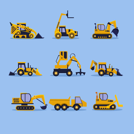 yellow tractors: Set icons yellow tractors vector illustration isolated Illustration
