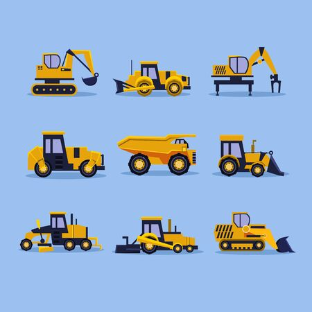 Set icons yellow tractors vector illustration isolated Illustration