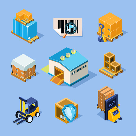 warehouse storage: Vector warehouse equipment icon set Illustration