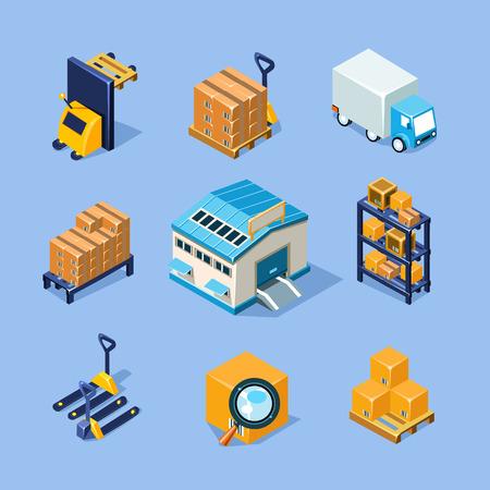 warehouse forklift: Almac�n Vector del icono del equipo conjunto Vectores