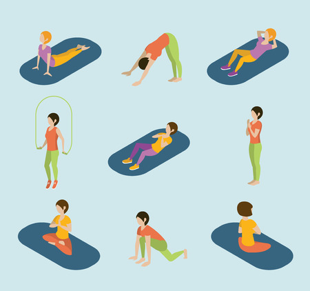 women exercise: Sports women yoga gym gymnastics workout exercise flat 3d web isometric infographic vector. Icon set of young girls on carpets balls skipping rope. Creative people collection. Illustration