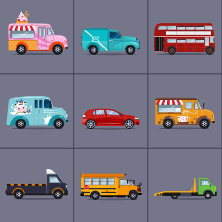 commuting: Vector set of various urban and city cars and vehicles