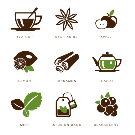 infusion: Tea icon set vector illustration Illustration