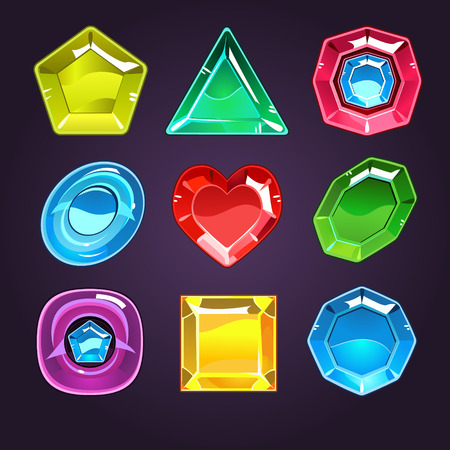 Cartoon vector gems and diamonds icons set in different colors with different shapes, isolated Vector