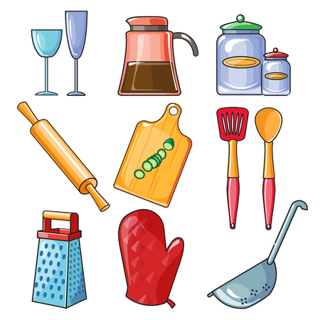 tissue paper art: Set of kitchen utensil and collection of cookware icons, cooking tools and kitchenware equipment Illustration