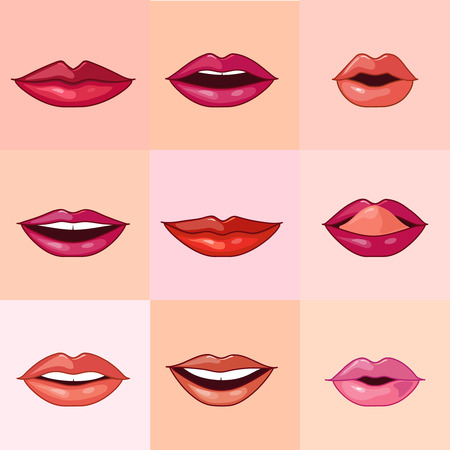sexy tongue: Set of beautiful female lips with different makeup. Vector illustration.