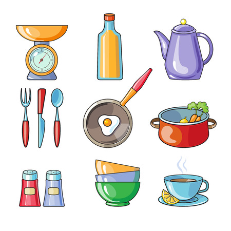 juice extractor: Set of kitchen utensil and collection of cookware icons, cooking tools and kitchenware equipment Illustration
