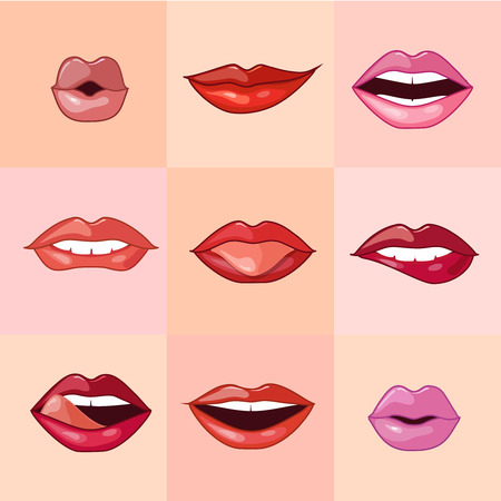 long tongue: Set of beautiful female lips with different makeup. Vector illustration.
