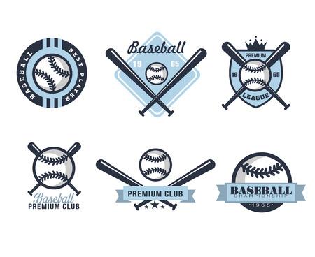 Emblemas o insignias de béisbol con varios diseños ilustración vectorial