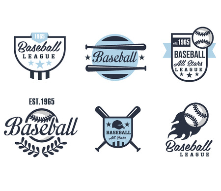 Baseball emblems or badges with various designs vector illustration Ilustração