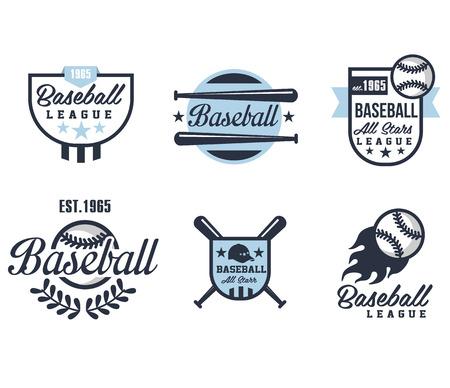 pelota de beisbol: Emblemas o insignias de b�isbol con varios dise�os ilustraci�n vectorial
