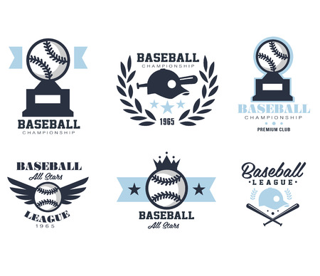 red competition: Baseball emblems or badges with various designs vector illustration Illustration