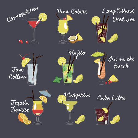 Set of vector illustration of different drinks and cocktails Vector
