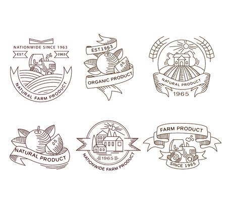 agrario: Etiquetas frescas Vector retro de la granja, escudos y elementos de dise�o