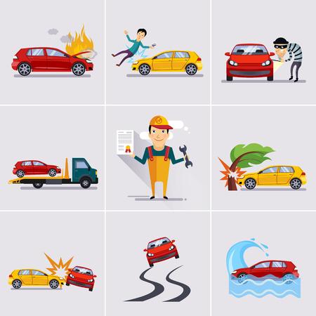 Auto en transport verzekering en risico pictogrammen vector illustratie set Stock Illustratie