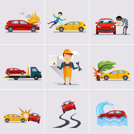 Car and transportation insurance and risk icons vector illustration set Illustration