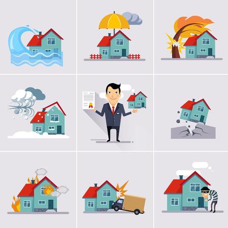 incendio casa: Inicio y de seguros casa y riesgo iconos conjunto ilustración vectorial Vectores