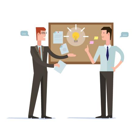 cooperacion: Asociación de éxito, la gente de negocios acuerdo de cooperación, el trabajo en equipo y la solución de apretón de manos de dos hombres de negocios aislados en fondo elegante. Estilo de diseño Flat vector moderno concepto de ilustración
