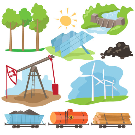 hydroelectric: Eco energy design concept set with green fuel planet home flat icons isolated vector illustration