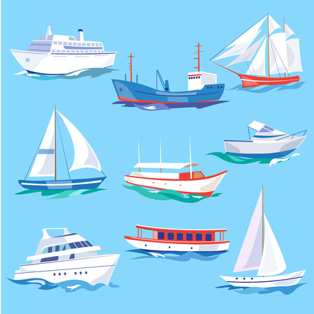 hovercraft: Set of sea ships. Water carriage and maritime transport in flat design style. Side view vector illustration.
