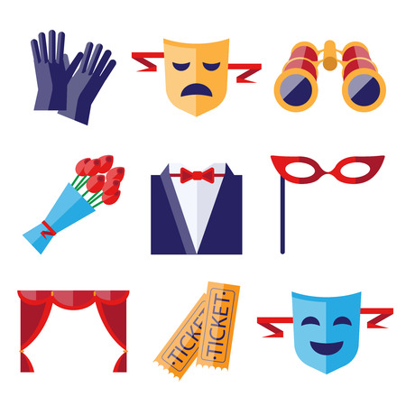 pointes: Theater performance decorative icons flat set with mask applause flowers isolated vector illustration Illustration