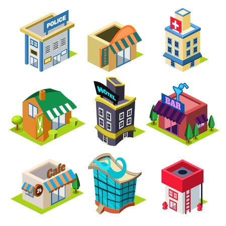 jezior: Zestaw budynków miasta izometrycznych i sklepów, Elementy mapie Ilustracja