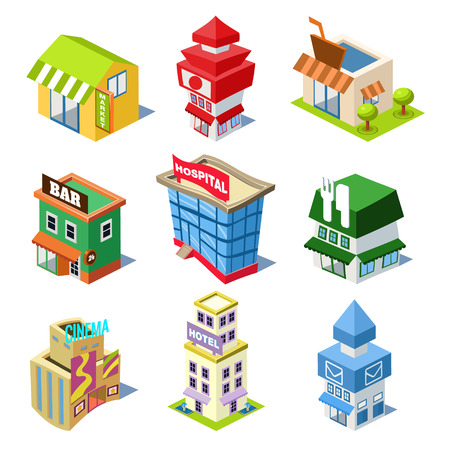 Set of the isometric city buildings and shops, Elements for map Vector