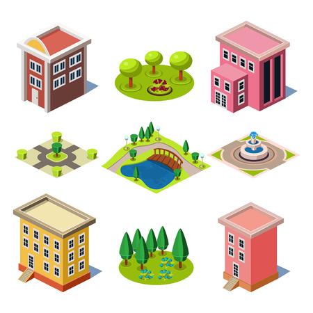Set van de isometrische stadsgebouwen en winkels, Elementen voor kaart