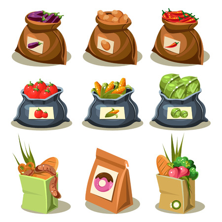 chive: Natural food is very good organic vegetables in paper bag  and sack concept