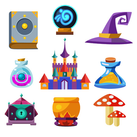 Collection of fairy tale elements, icons and illustrations Vector