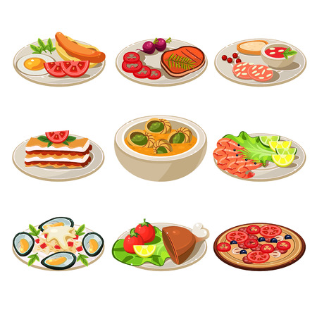 main course: Set of food icons. Illustration