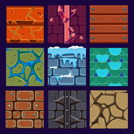 Different materials and textures for the game.  Illustration