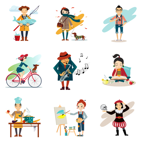 active lifestyle: Active lifestyle, Hobbies, healthy lifestyle icons set isolated illustration