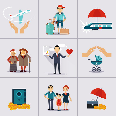 health risks: Business character and icons template.  Illustration