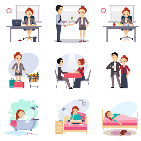 daily routine: Daily Routine Vector set with cute girl illustration Illustration
