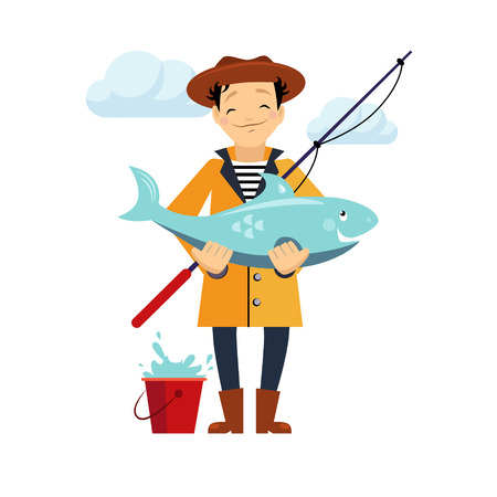 fisher man: Fisherman and fish vector illustration. Isolated on white background