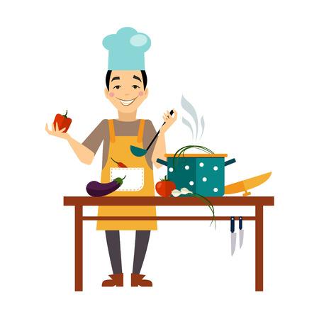 cocinero: Cocinero que cocina el alimento ilustración de estilo plano o icono