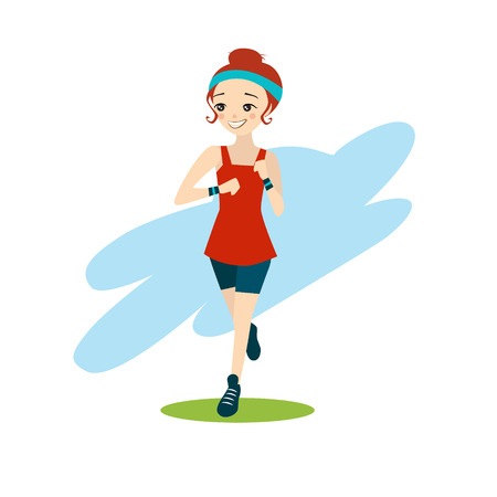 white girl: illustration of a beautiful cartoon girl running vector