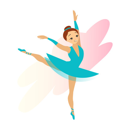Cute cyan Ballerina girl isolated on white background vector Ilustrace