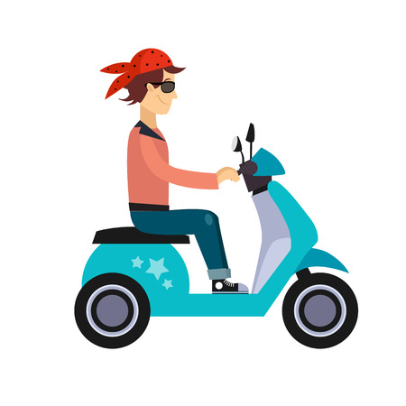 modern lifestyle: Vector modern illustration on hipster young man characters riding fast retro scooters wearing sun glasses, isolated Urban modern lifestyle abstract illustration of dynamic young people
