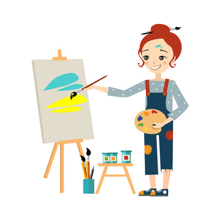 Beautiful artist woman painting on canvas vector illustration
