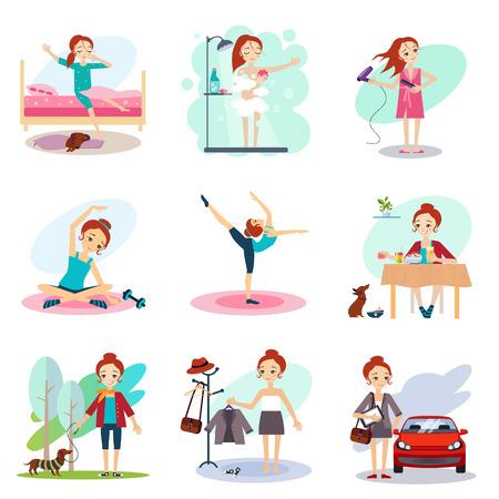 daily routine: Daily Vector conjunto de rutina con ilustraci�n muchacha linda Vectores