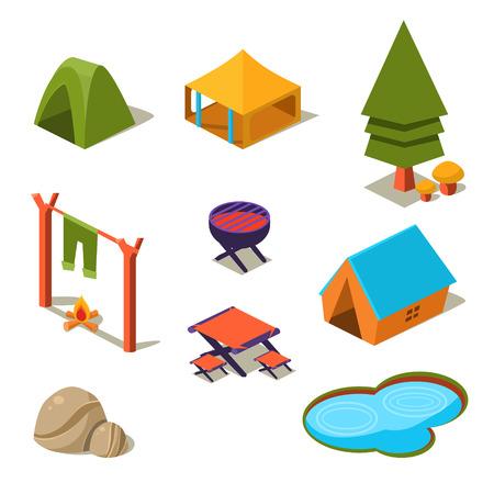 pond: Isometric 3d forest camping elements for landscape design vector illustration