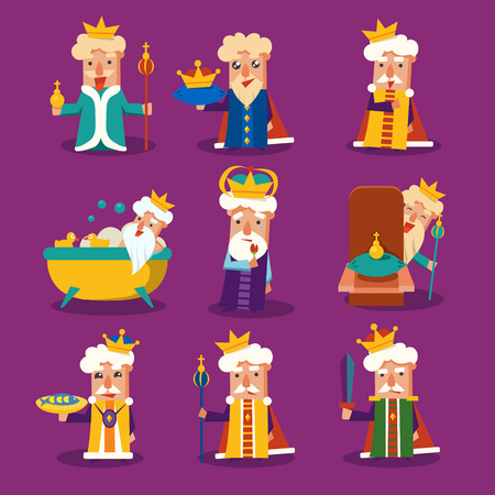 cartoon king: King Cartoon Emotion Vector Illustration Set