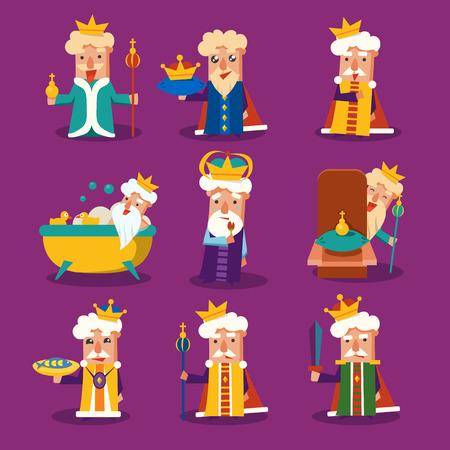 king: Rey de la historieta Emoci�n Ilustraci�n Vector Set Vectores